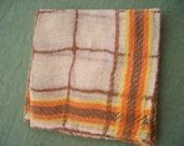 Vintage Napkins Linen Napkins White Loose Weave Brown Orange Yellow Plaid 6 Pieces