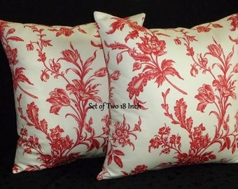 Decorative Designer Throw Pillow Covers - Spring Flowers in Red and Ivory - Set of Two 18 Inch