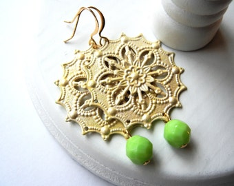 Yellow Flower Earrings, Chandelier, Green and Yellow Earrings, Hand Painted, Filigree Earrings, Lemon and Lime, Gift for Her