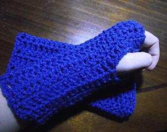 Blue Suede Fingerless Gloves/ Wrist Warmers