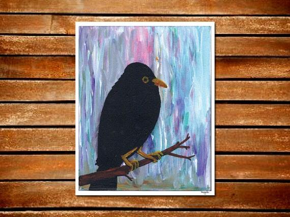 Rain Black Bird Blue Moody Grey Purple Blye Pink Green Art Print
