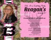 Camo Invitation Photo Birthday Party Printable Pink Zebra Camouflage Buck Deer