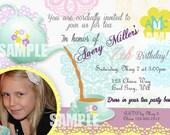 Tea Party Invitation Photo Birthday Party Printable Pastel teapot tea cup flower doily girl invite