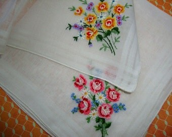 Two Vintage White Cotton Embroidered Handkerchief Wedding Batiste Cambric Fabric Vintage Linens Needlework