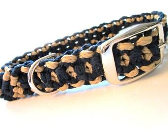 Navy and Beige/Gold Medium Dog Macramé Collar