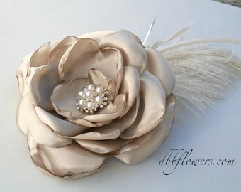 Fabric Flower Hair Piece in Champagne: Lady Catherine
