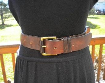 Vintage Brown Leather Hippie Belt