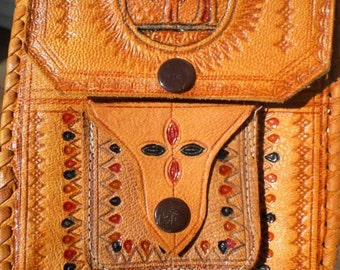 SALE Small Leather Tooled Painted Shoulder Bag Pouch/Purse