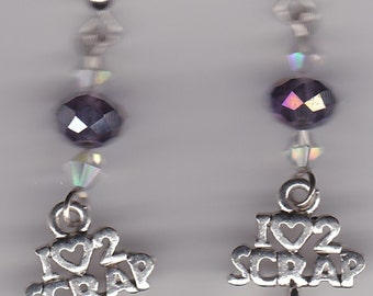 Scrapbooking Earrings-Tibetan Silver w/Clear & Faceted Purple Swarovski Beads