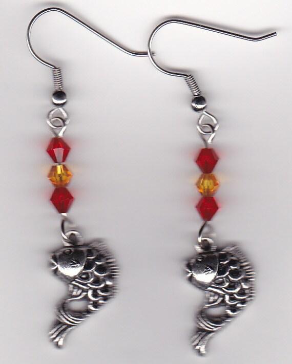 Koi gold fish earrings tibetan silver w orange and yellow for Koi fish beads
