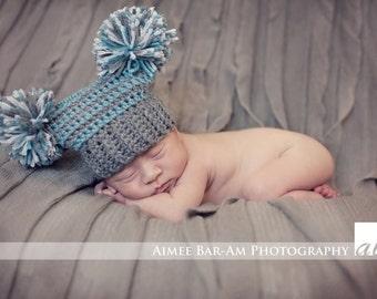 Crochet Pattern - Team Spirit Pompon Pompom Hat (Newborn to Adult) with Crochet Flower