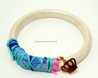 white leather bracelet-  jewelry -  blue fiber art- gold crown - bubble gum pink - dainty bracelet-BOHO Chic- shabby chic girls- Sweetlake