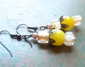 Yellow Glass Vintage Style Bronze Earrings, Spring Jewelry - Mylana