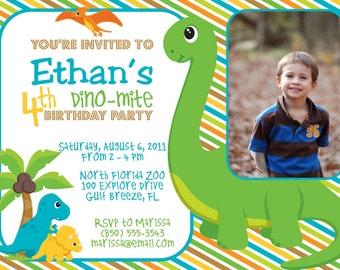 Dinosaur Birthday Party 5x7 Photo Invitation- Boy Printable