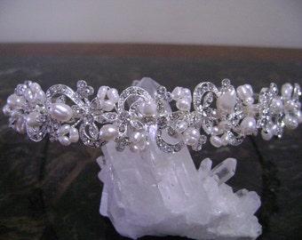 Freshwater Pearl & Rhinestone Bridal Headband, Freshwater Pearl and Rhinestone Wedding Headpiece,Bridal Headband, Wedding Hair Accessory,
