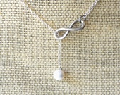 RESERVED for Jaclyn 4 Infinity . Freshwater Pearl . Lariat Necklace . Infinity Collection