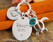 Personalized Jewelry - Hand Stamped Custom Jewerly - Sterling Silver Necklace - Beach Girl