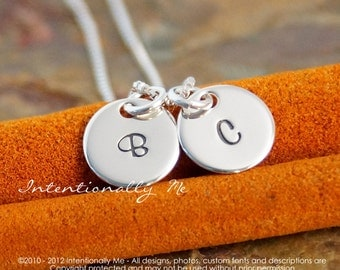Hand Stamped Mommy Necklace -  Personalized Sterling Silver Jewelry - Tiny Initial Tags Duet Necklace