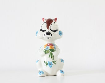 Vintage kitsch porcelain squirrel chipmunk money bank box 50s