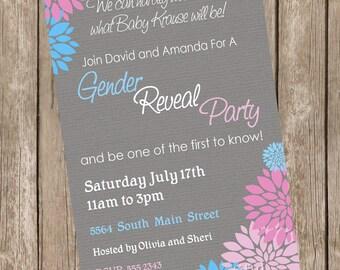 Gender Reveal Baby Shower Invitation Baby Reveal Invite printable invitation 20130115-K4-5