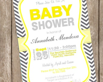 Neutral Baby Shower Invitation Yellow and Grey Chevron printable invitation 121202-K1-1E