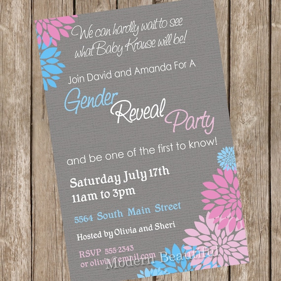 Gender Reveal Baby Shower Invitation Baby Reveal Invite printable ...