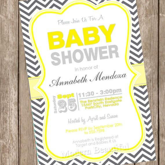 neutral baby shower invitation yellow and grey chevron, Baby shower