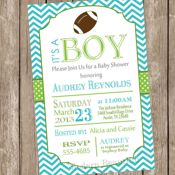 chevron football baby shower invitation football lime teal