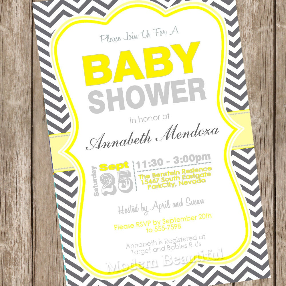 Neutral Baby Shower Invitation Yellow and Grey Chevron