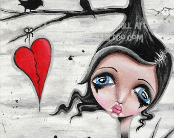 Big Eye Art Mixed Media Goth Giclee Print Signed Reproduction Perch To Land by Lizzy Love [IMG#89]