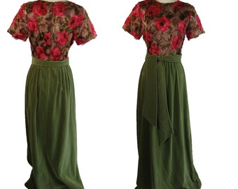 1960s Velvet Floral Dress. Vintage Gown by Tony Krupa.  Made in Italy Size Small