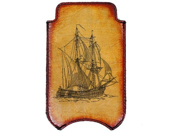 iPhone Leather Sleeve - Sail Boat