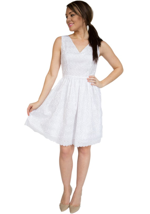 Innovative White Eyelet Is A Telltale Sign Of Warm Summer Weather To Me The Cool Cotton Fabric Is Perfect For Tan Skin And Warm Nights When I Saw This Rufflely White Eyelet Dress It Was Definitely Love At First Sight I Love It Paired With A Nude Heel