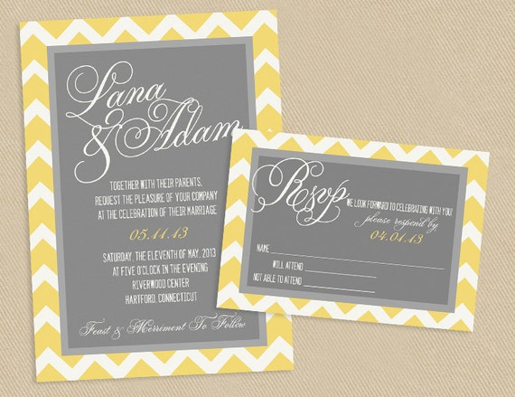 Printable Wedding Invitation Sets: Wedding Invitation And RSVP Printable Set Yellow And Grey