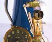 Birdhouse Bird house Art Piece Repurposed Upcycled Porcelain Enamel Blue Kettle Big Ben Alarm Clock Storage Found Metal Recycled OOAK