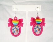 Starlite Rainbow Brite Cameo Earrings on Pink Bow Setting