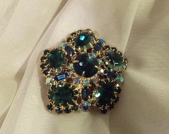 Statement Vintage Brooch, 1940's Juliana Blue Flower Pin, Stunning Chartreuse with crystal rhinestones.  Perfect Condition.