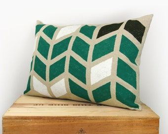 12x18 Decorative Throw Pillow Cover | Geometric Chevron Pattern in Emerald Green, Black, White and Natural | Graphic and Modern Home Decor