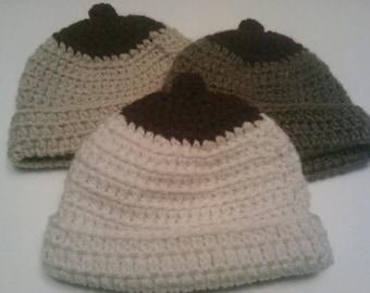 Custom Personalized Crocheted Boob Beanie Nursing Hat Maroon Nipple