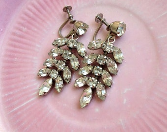 Vintage Glam 1950's Rhinestone Earrings