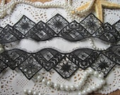 Black Venice Lace Trim Lovely Eyelash Lace Hollowed Out 1.96 Inches Wide 2 yards