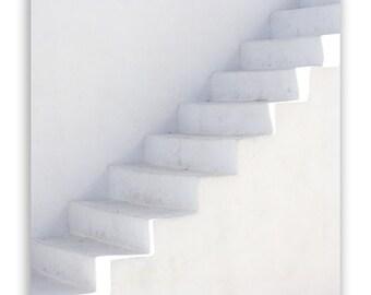 Greece Photography - White on White - Mediterranean decor, white decor, white stairs, Greece prints - Fine Art Photograph