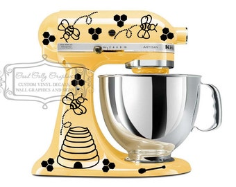 Kitchen mixer vinyl decal set 43 pieces, bees, trails, hives, honey combs and honey sticks
