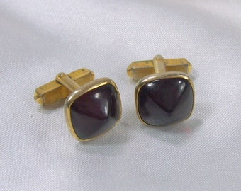 Vintage Cuff Links Swank Art Deco Red Lucite Domed Square Cufflinks