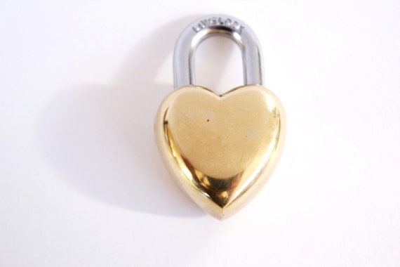 Vintage Wedding Gift Small Heart Lock / Love Lock . heart padlock . heart shaped lock . key to my heart . gift for him