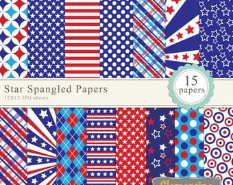 Independence Day paper pack 12x12, 4th of july digital paper,  patriotic digital papers - Instant Download
