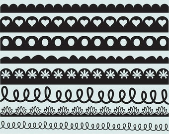 Decorative borders clip art images, royalty-free (scallop)- Instant Download