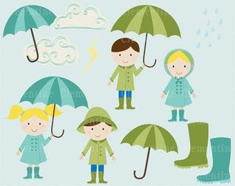 rain clip art images, cloud clip art, royalty free clip art - April Showers clip art- Instant Download