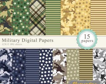 Military scrapbook paper 12x12, camouflage digital scrapbooking paper, royalty free- Instant Download