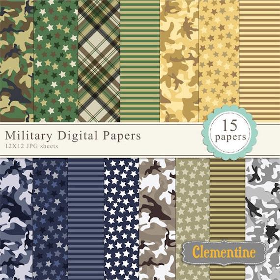Military Scrapbook Paper 12x12 Camouflage Digital Scrapbooking